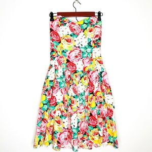 VINTAGE Robbie Bee 80s Pleated Floral Ruffle Dress